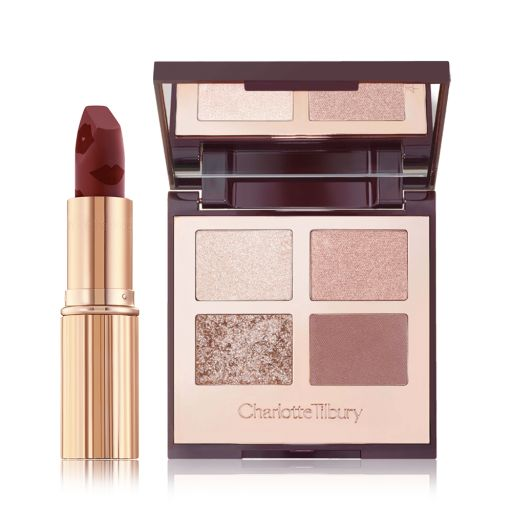 Charlottes Party Eyeshadow Duo with Exaggereyes Eyeshadow and Matte Revolution Scarlet Spell