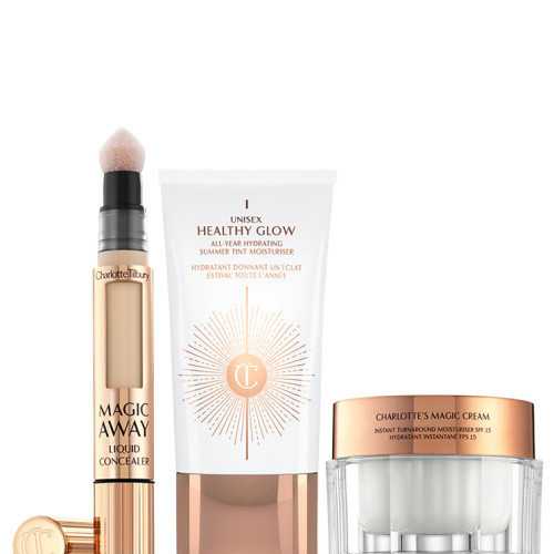 Unisex Glow Beauty Kit Pack Shot Image with Magic Away Moisturiser, Magic Cream and Unisex Healthy Glow Tinted Moisturiser
