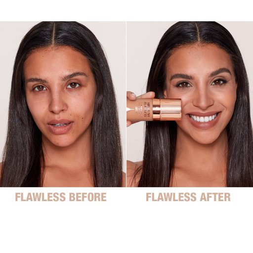 Airbrush Flawless Finish Foundation 7.5 warm before and after