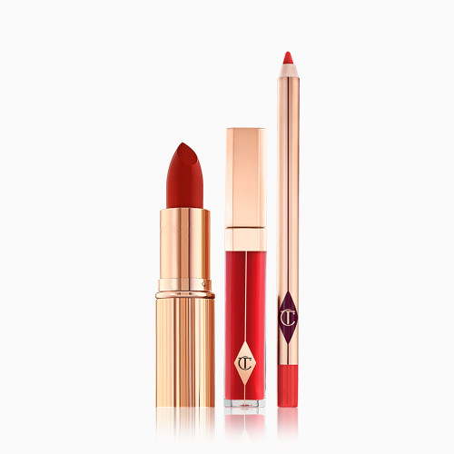 The Perfect Pout Bundle Pack Shot with a lip gloss, lip liner and lipstick