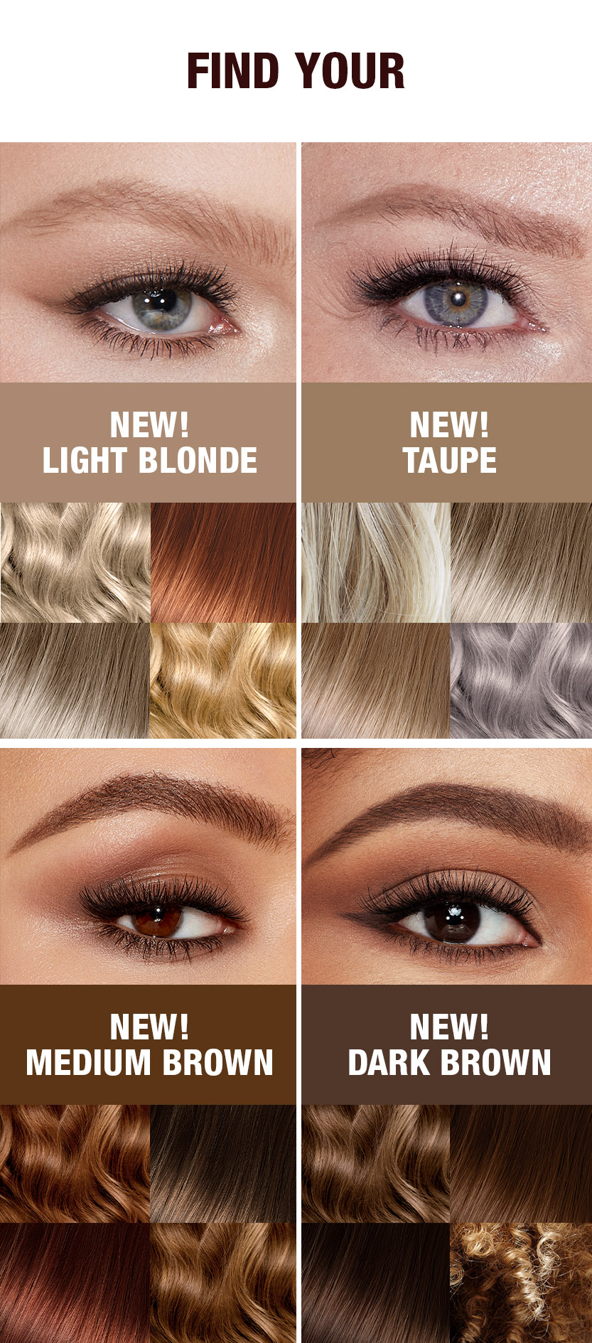 Hair Colour and Brow Product shades to match to