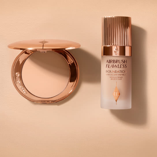 Airbrush Flawless Finish powder and Airbrush Flawless Foundation still life image