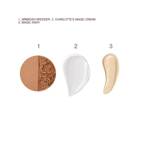 Magic Cream, Airbrush Bronzer and Magic Away Swatch