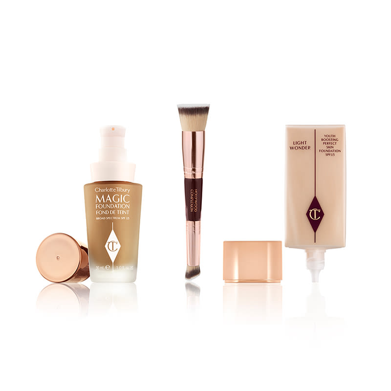 magic foundation, hollywood complexion brush and light wonder foundation