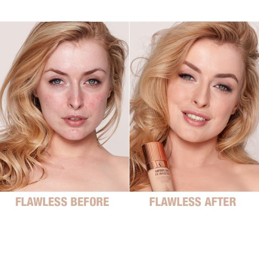 Airbrush Flawless Foundation 5 warm before and after