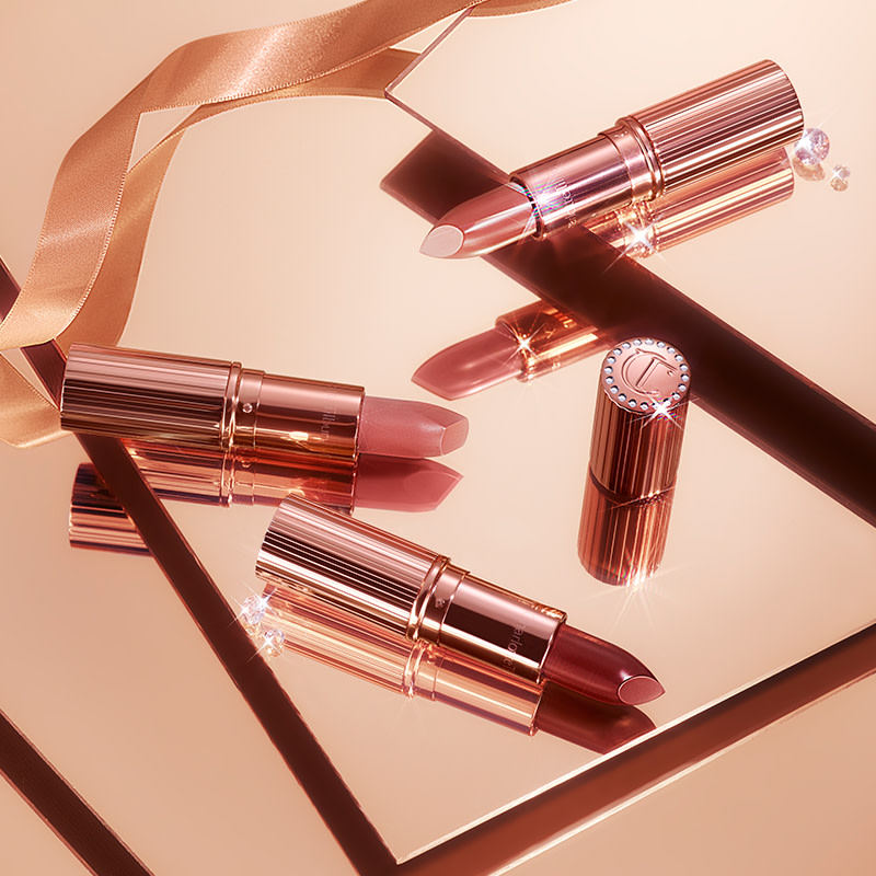 Charlotte Tilbury limited-edition 90s-inspired holiday lipsticks in Super You, Super Nude and Super Starlet