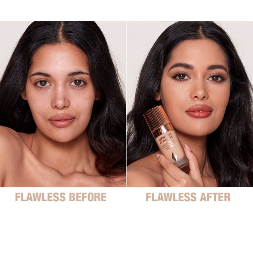 Airbrush Flawless Foundation 7.5 neutral before and after
