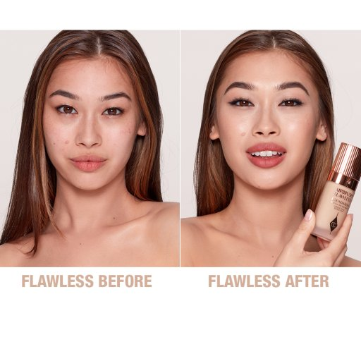 Airbrush Flawless Foundation 5.5 neutral before and after