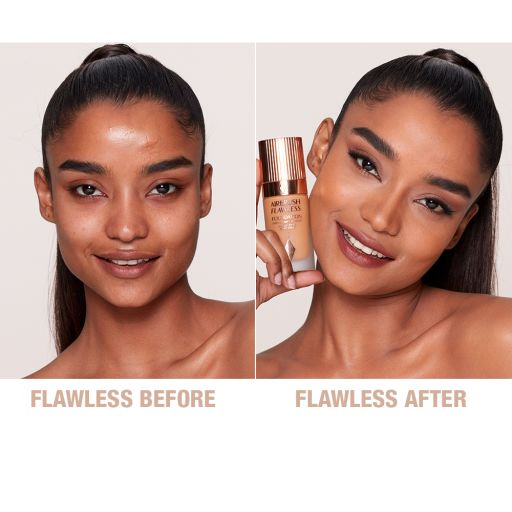 Airbrush Flawless Foundation 10 Warm Before and After