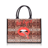 Hot Lips 2 Tote Bag In Timeless Leopard Classic Rose Gold
