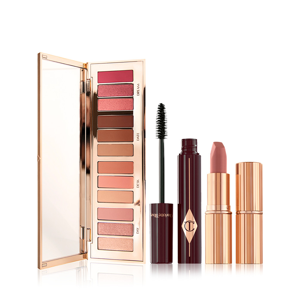 Save a magical 20% on this makeup kit including a 12-shade eyeshadow palette, volumising mascara and nude-pink lipstick