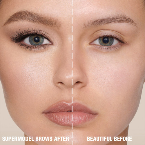 Before and After Model for Brow Products in Soft Brown