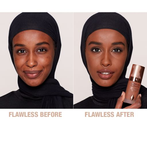 Airbrush Flawless Foundation 14 Warm Before and After