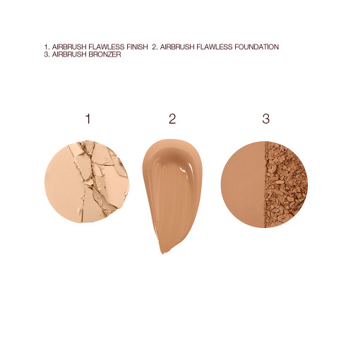 Airbrush Bronzer, Airbrush Flawless Foundation and Airbrush Flawless Finish Swatch