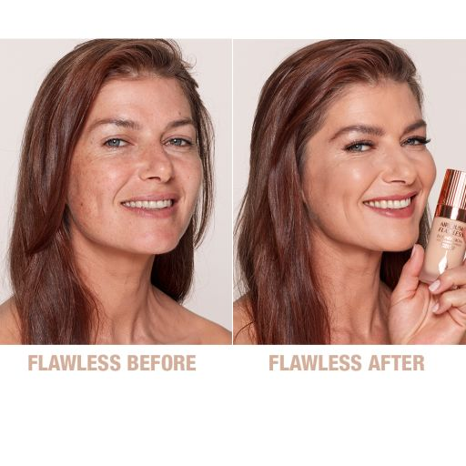 Airbrush Flawless Foundation 7 warm before and after