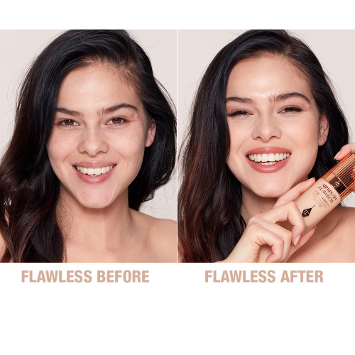 Airbrush Flawless Finish Foundation 4 warm before and after