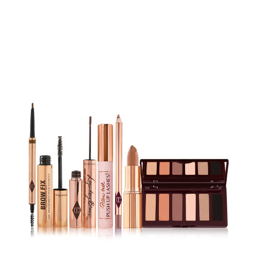 Supermodel Look Bundle Pack Shot with Brow products, Eye palettes and Lipsticks