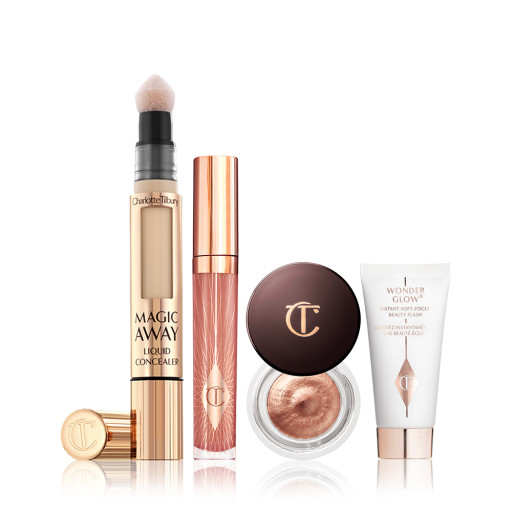 Travel Makeup Bundle Pack shot With Collagen Lip Gloss, Eyes to Mesmerise, Magic Away Concealer and Travel Sized Wonderglow