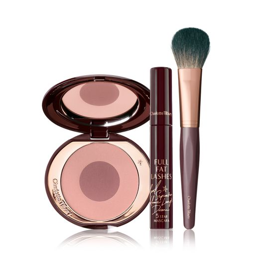 Blushing Beauty Kit Pack Shot with a Cheek To Chic Blusher, Mascara and Brush