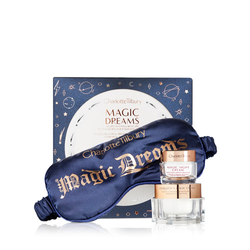Charlotte Tilbury Magic Dreams Gift Set with a travel sized Magic Night Cream, full size Magic Cream and Eye Mask.