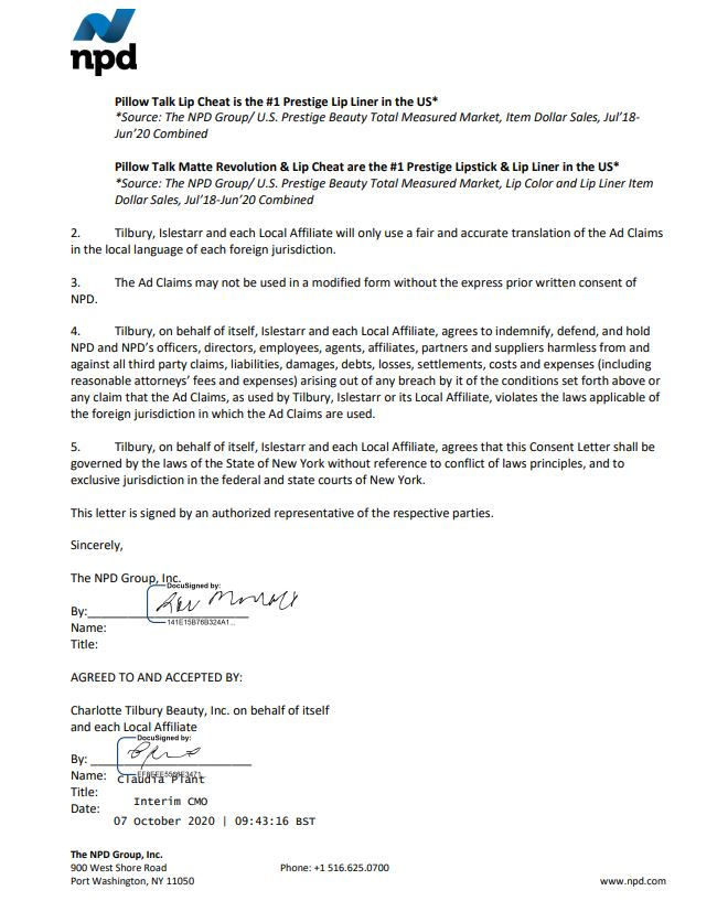 The NPD Group, Inc US agreement letter for PT Lip products 2