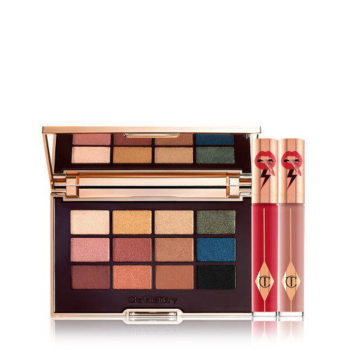 The Icon Eye Lip Duo Date Look Pack Shot with the Icon Eye Shadow Palette and Two Latex Love Lip Gloss