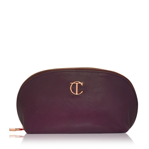Charlotte Tilbury purple leather makeup bag