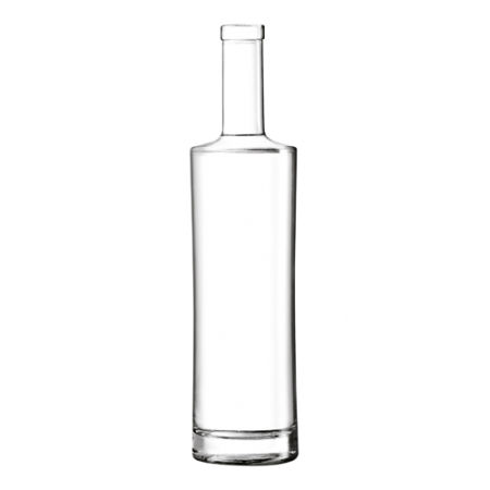 A product image of a slim 75 cl glass bottle available with a custom logo or image printed on the side at Helloprint