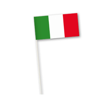 A paper Italian flag on a tooth pick available in bulk at Helloprint.