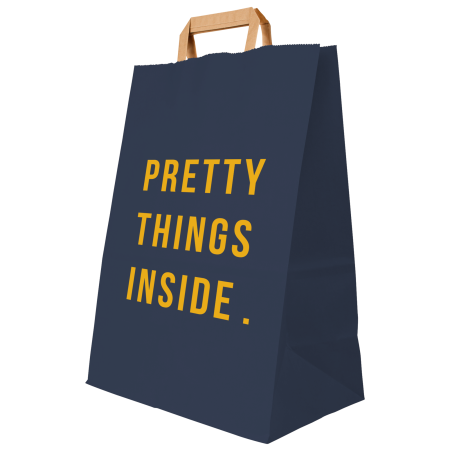 A blue coloured paper bag available with personalised printing solutions for a cheap price at Helloprint