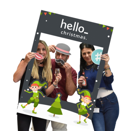 Selfieframe with a Christmas theme for party photoshoot. At Helloprint you can personalise it with your own logo or text for cheap.