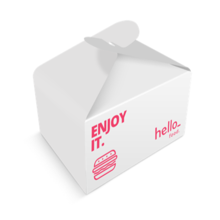 A box for food packaging printed with a pink burger, to personalize with a design on Drukzo