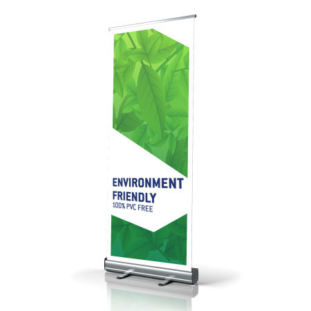 High quality rollup banner from Helloprint, made of entirely recycled materials.