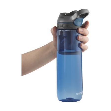 A blue coloured Contigo Cortland Water Bottle available at Helloprint with a personalised logo or branding printed on the side.
