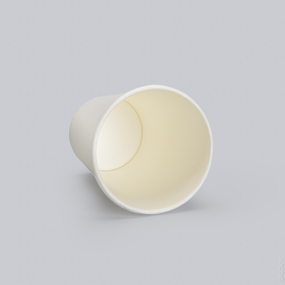A white coloured single wall paper cup laid on its side, available with custom printing options for cheap at Helloprint