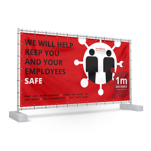 Anti COVID-19 Construction Fence Banners in Red