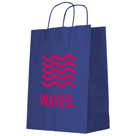A blue coloured Kraft paper bag available with personalised printing options for cheap prices at Helloprint