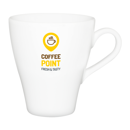 A white coloured cappuccino mug available with custom printing solutions for a cheap price at Helloprint