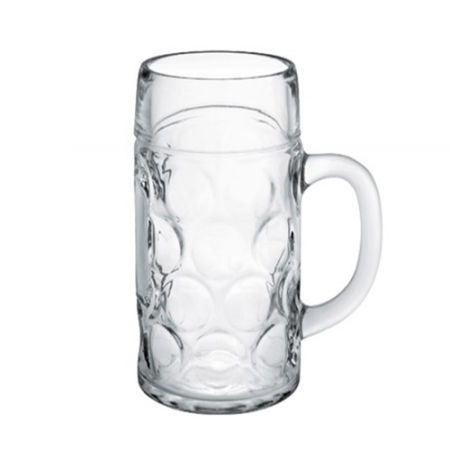 A product image of a 1 litre octoberfest beer mug available to be printed with a custom logo or image on the side at Helloprint