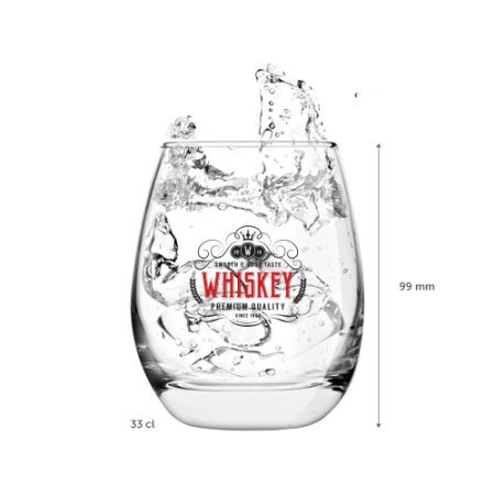 A 33 cl whiskey glass available to be printed with a custom logo or image on the side at Helloprint