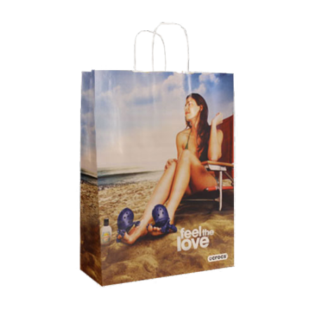 A full colour printed Kraft paper bag available at Helloprint with personalised printing options for a cheap price