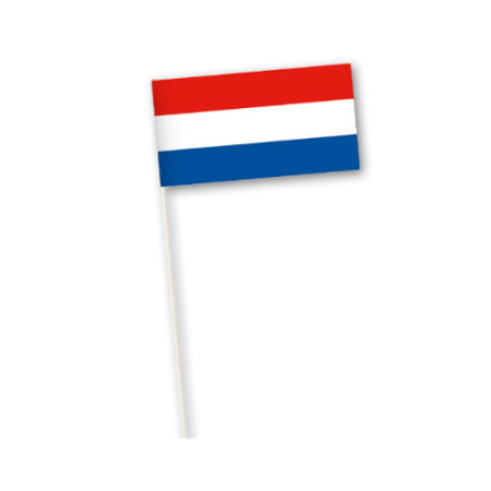 A Dutch flag printed on a paper country flag available to be printed for cheap prices at Helloprint