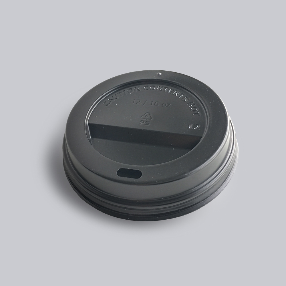 A black coloured paper cup cap for the custom printed paper cups available at Helloprint at cheap prices