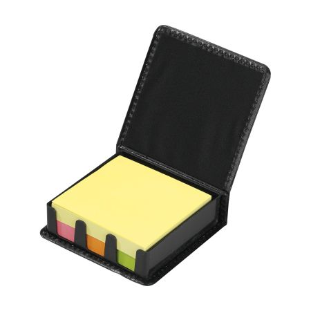 A set of adhesive notes in a black box ideal for all offices, customisable memo set with logo on Helloprint.