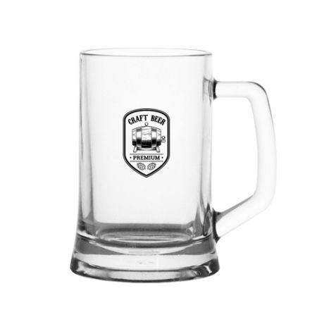 A 480 ml German beermug available with a customised design or logo printed on the side at Helloprint/