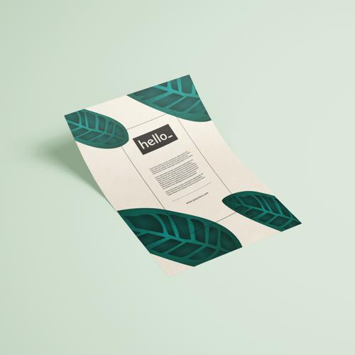 Voorbeeld flyer van millieuvriendelijk papier. Helloprint.