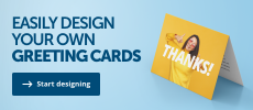 A banner promoting the ability to design your own photo greeting cards at Helloprint via our free online design tool