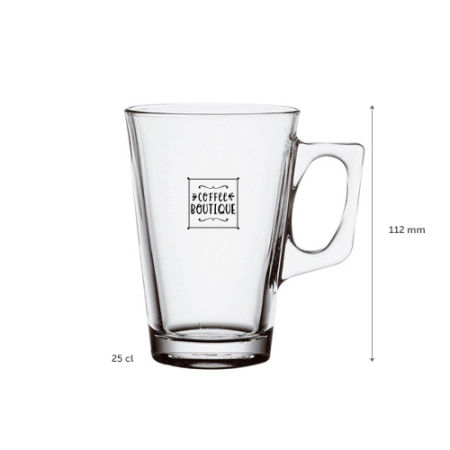 A 25 cl glass tea cup available to be printed with a custom logo or image along the side at Helloprint