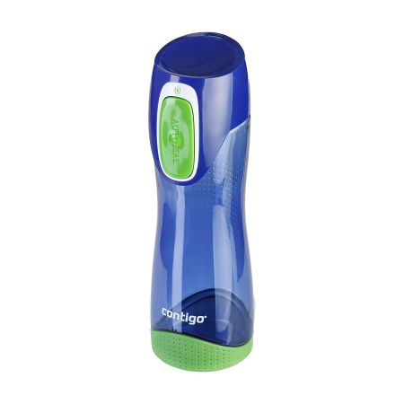 A blue Contigo Swish Water bottle with a green base available to be custom printed at cheap prices at Helloprint