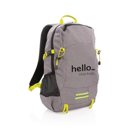 Personalised grey and yellow sport backpack available at Helloprint at a low price.